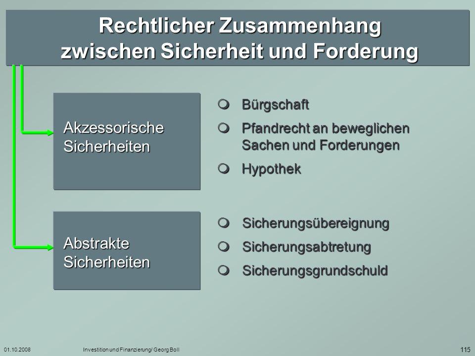 01.10.2008Investition und Finanzierung/ Georg Boll 116 Akzessorische Sicherheiten Es besteht ein unmittelbarer rechtlicher Zusammenhang zwischen dem Sicherungsumfang und dem Umfang der zu sichernden Forderung.
