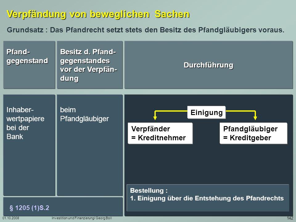 01.10.2008Investition und Finanzierung/ Georg Boll 143 Sicherungs- übereignungen