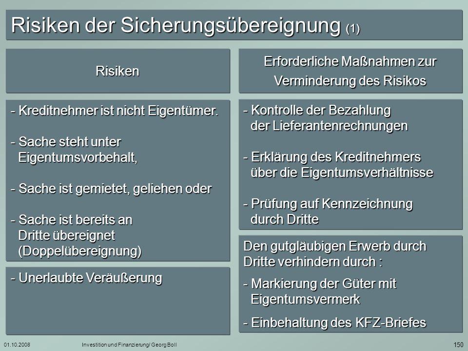 01.10.2008Investition und Finanzierung/ Georg Boll 151 Risiken der Sicherungsübereignung (2) Risiken Erforderliche Maßnahmen zur Verminderung des Risikos - Wertverlust der Sache - Regelmäßige Besichtigung und Bewertung - Schwundmarge einrechnen - Überdeckung - Versicherungen abschließen und abtreten lassen - Gesetzliches Pfandrecht (Vermieter, Verpächter, Spediteur) - Mieten, Pachten per Dauerauftrag ausführen und überwachen lassen - Vertragliche Vereinbarungen mit berechtigten Personen