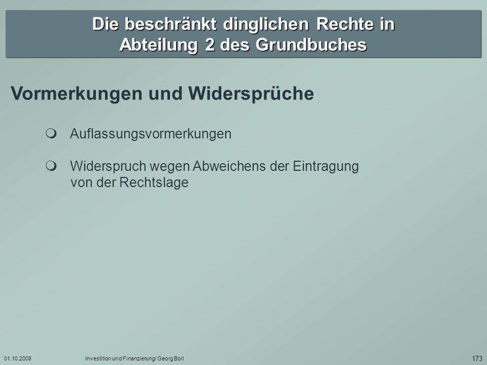 01.10.2008Investition und Finanzierung/ Georg Boll 174 Beschränkt persönliche Dienstbarkeit § 1090.