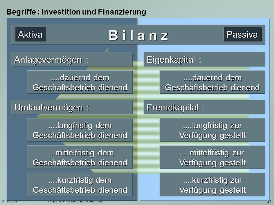 01.10.2008Investition und Finanzierung/ Georg Boll 22 Begriffe : Investition und Finanzierung Kapital...als zu verwendendes, zu beschaffendes oder zu verwaltendes....