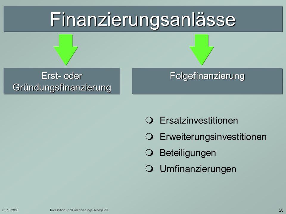 01.10.2008Investition und Finanzierung/ Georg Boll 29 Merkmale von Finanzierungsarten Eigenfinanzierung Eigenfinanzierung Fremdfinanzierung Fremdfinanzierung Kapitalgeber sind am Gewinn beteiligt Kapitalgeber haben i.d.R.