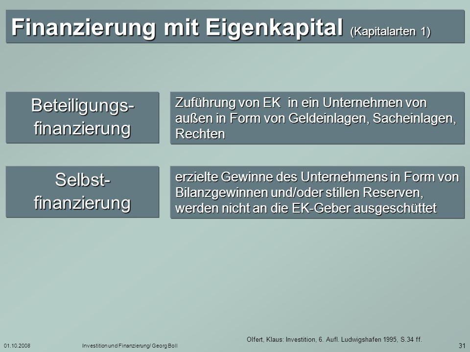 01.10.2008Investition und Finanzierung/ Georg Boll 32Olfert, Klaus: Investition, 6.