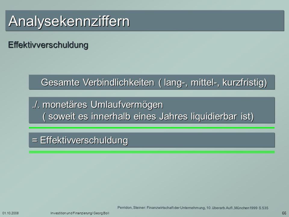 01.10.2008Investition und Finanzierung/ Georg Boll 67 Bilanzgewinn / Jahresüberschuss Jahresüberschuss (bzw.