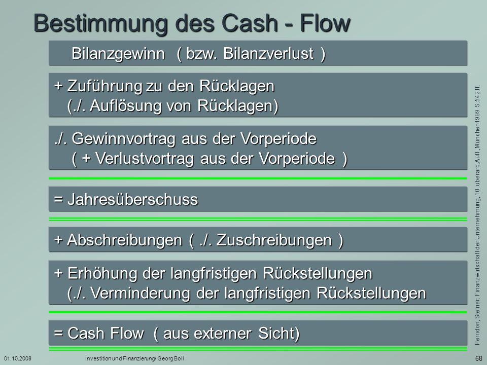 01.10.2008Investition und Finanzierung/ Georg Boll 69 Bestimmung des Cash - Flow im weiteren Sinne Jahresgewinn ( bzw.