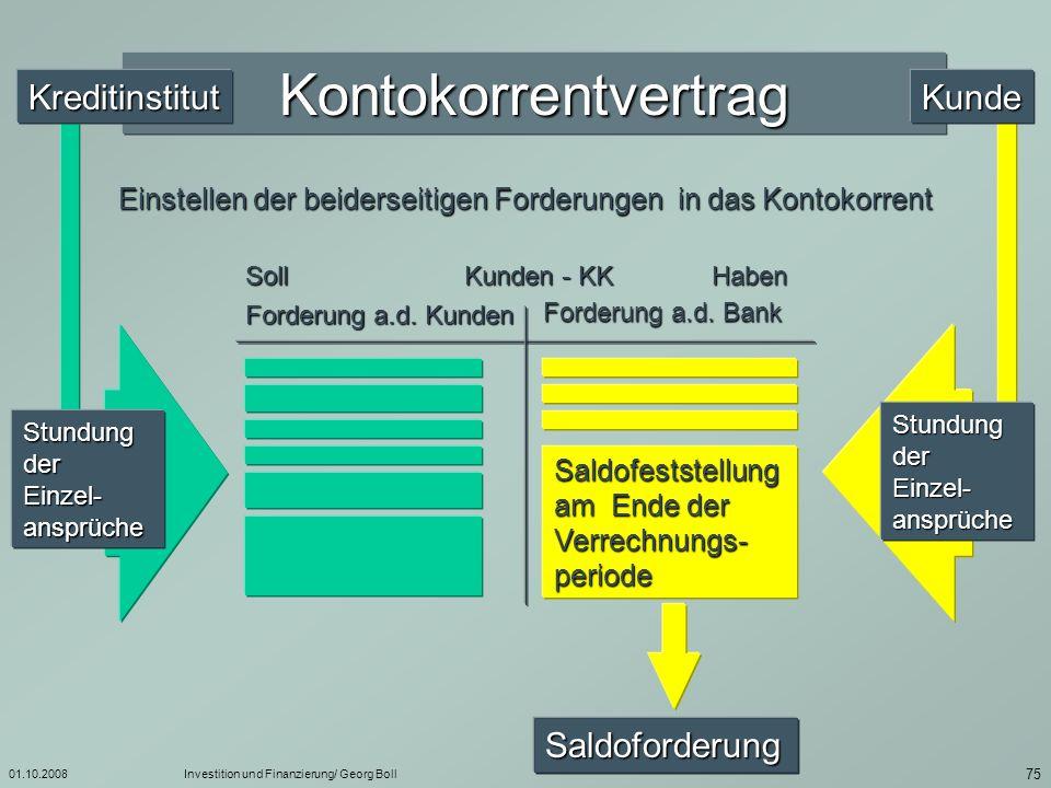 01.10.2008Investition und Finanzierung/ Georg Boll 76 Guthaben Haben (Euro) Soll (Euro) 40.000 20.000 100.000 140.000 31.03.30.04.