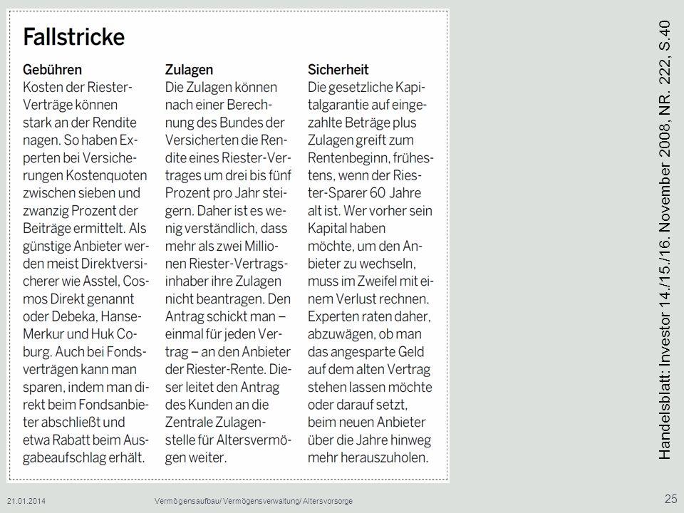 21.01.2014Vermögensaufbau/ Vermögensverwaltung/ Altersvorsorge 25 Handelsblatt: Investor 14./15./16. November 2008, NR. 222, S.40