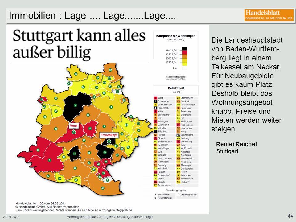 21.01.2014Vermögensaufbau/ Vermögensverwaltung/ Altersvorsorge 44 Die Landeshauptstadt von Baden-Württem- berg liegt in einem Talkessel am Neckar. Für