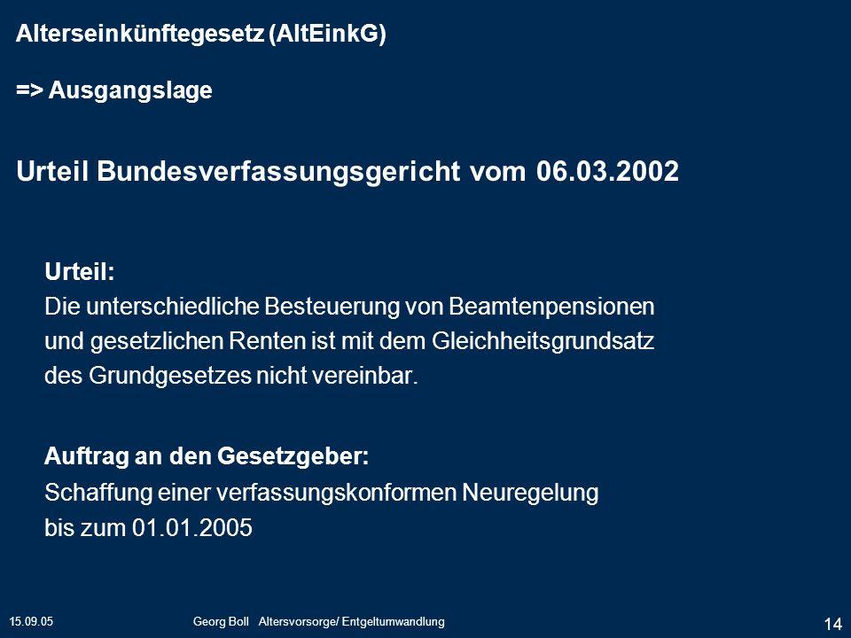 15.09.05Georg Boll Altersvorsorge/ Entgeltumwandlung 14 Urteil: Die unterschiedliche Besteuerung von Beamtenpensionen und gesetzlichen Renten ist mit