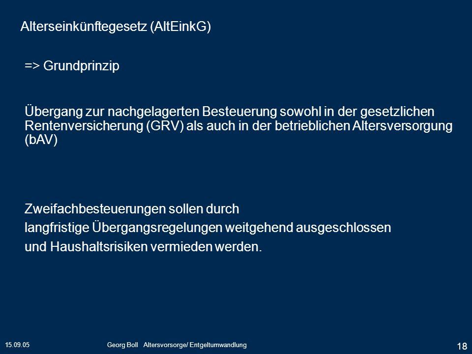 15.09.05Georg Boll Altersvorsorge/ Entgeltumwandlung 18 Zweifachbesteuerungen sollen durch langfristige Übergangsregelungen weitgehend ausgeschlossen