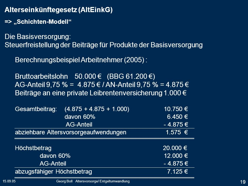 15.09.05Georg Boll Altersvorsorge/ Entgeltumwandlung 19 Berechnungsbeispiel Arbeitnehmer (2005) : Bruttoarbeitslohn 50.000 (BBG 61.200 ) AG-Anteil 9,7