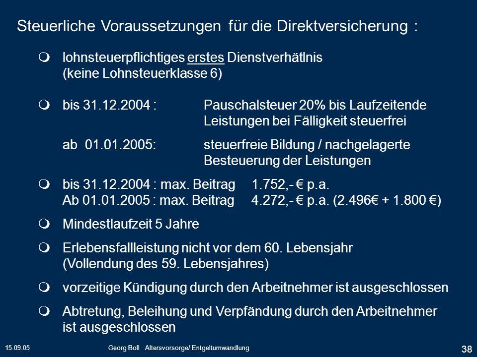15.09.05Georg Boll Altersvorsorge/ Entgeltumwandlung 38 lohnsteuerpflichtiges erstes Dienstverhätlnis (keine Lohnsteuerklasse 6) bis 31.12.2004 :Pausc