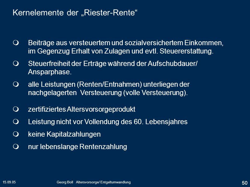15.09.05Georg Boll Altersvorsorge/ Entgeltumwandlung 50 Kernelemente der Riester-Rente Beiträge aus versteuertem und sozialversichertem Einkommen, im