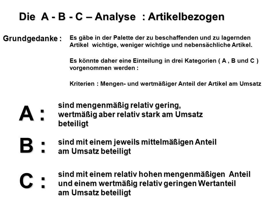 Die A - B - C – Analyse : Artikelbezogen Grundgedanke : Es gäbe in der Palette der zu beschaffenden und zu lagernden Artikel wichtige, weniger wichtig