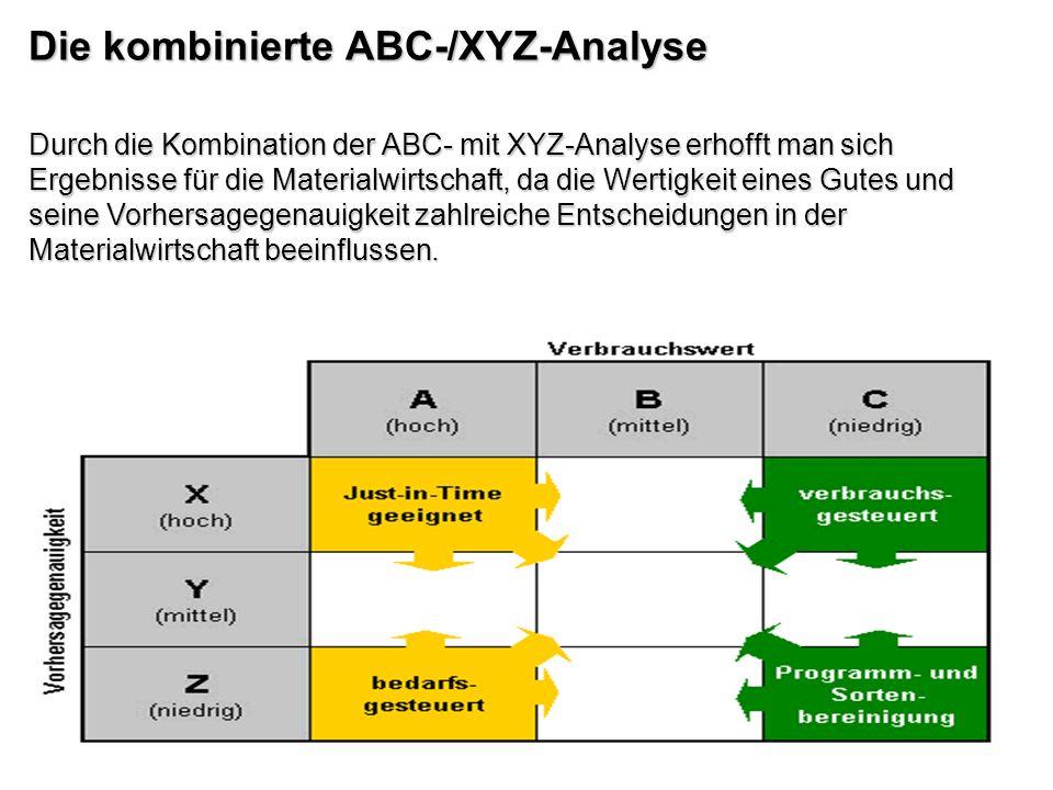 Durch die Kombination der ABC- mit XYZ-Analyse erhofft man sich Ergebnisse für die Materialwirtschaft, da die Wertigkeit eines Gutes und seine Vorhers