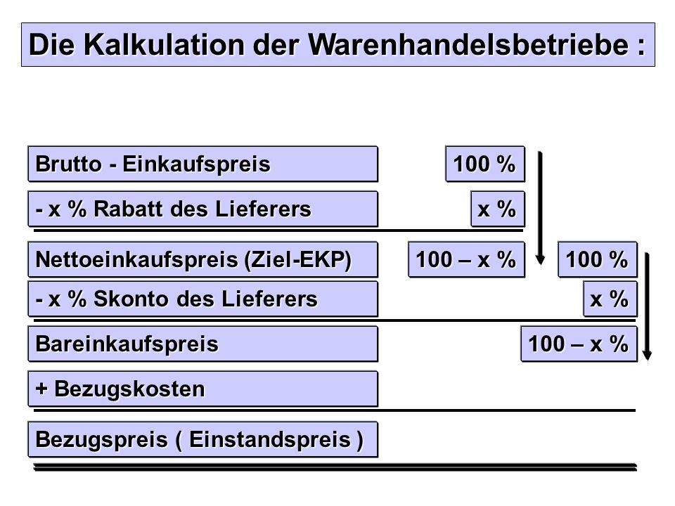 Die Kalkulation der Warenhandelsbetriebe : Brutto - Einkaufspreis + Bezugskosten Bezugspreis ( Einstandspreis ) - x % Rabatt des Lieferers Nettoeinkau