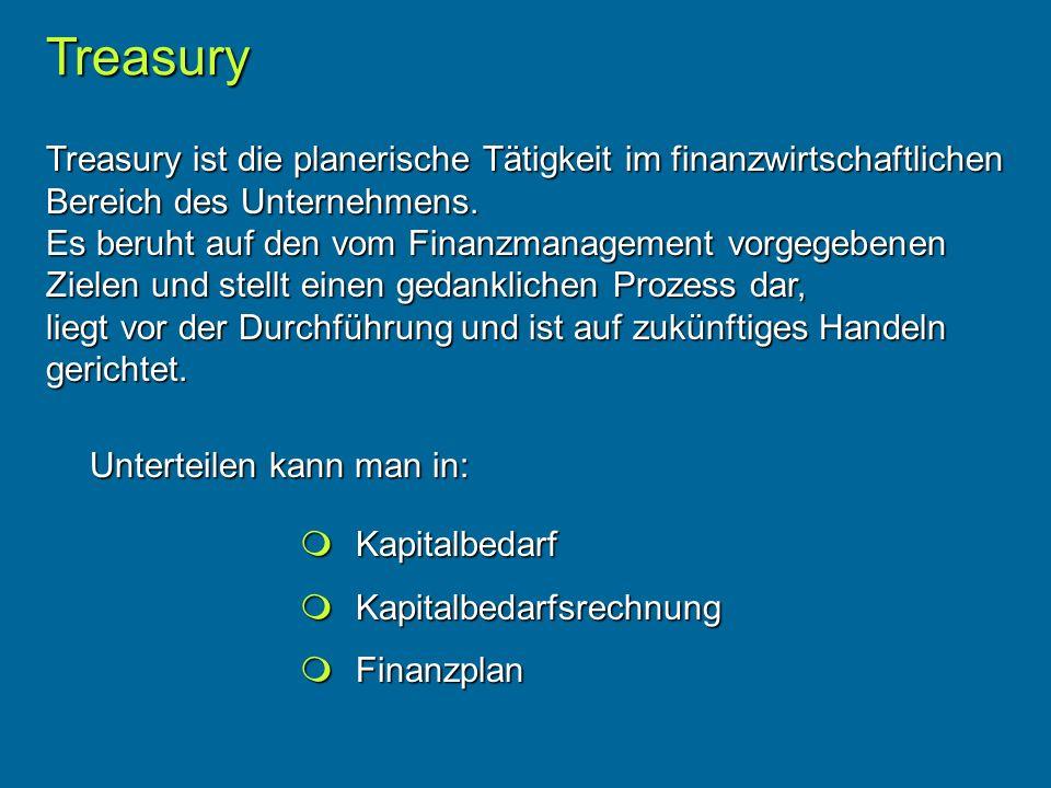 Treasury ist die planerische Tätigkeit im finanzwirtschaftlichen Bereich des Unternehmens.
