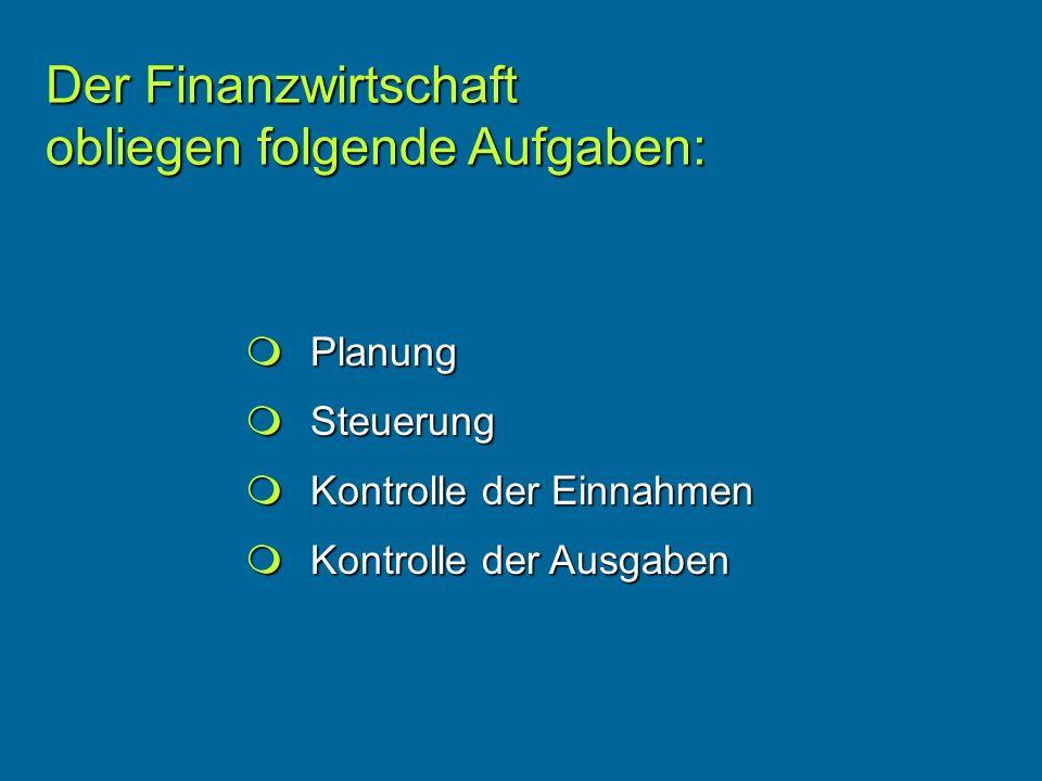 Planung Planung Steuerung Steuerung Kontrolle der Einnahmen Kontrolle der Einnahmen Kontrolle der Ausgaben Kontrolle der Ausgaben Der Finanzwirtschaft obliegen folgende Aufgaben: