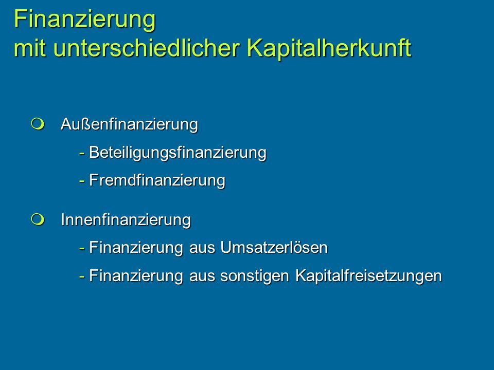 Außenfinanzierung Außenfinanzierung - Beteiligungsfinanzierung - Fremdfinanzierung Innenfinanzierung Innenfinanzierung - Finanzierung aus Umsatzerlösen - Finanzierung aus sonstigen Kapitalfreisetzungen Finanzierung mit unterschiedlicher Kapitalherkunft