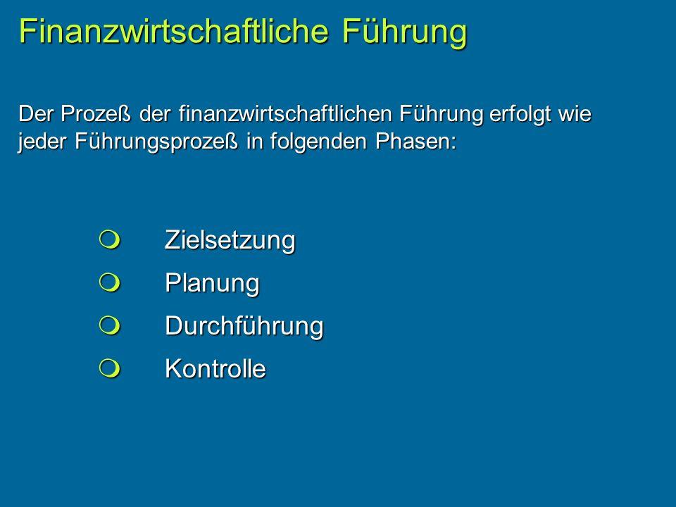 Der Prozeß der finanzwirtschaftlichen Führung erfolgt wie jeder Führungsprozeß in folgenden Phasen: Finanzwirtschaftliche Führung Zielsetzung Zielsetzung Planung Planung Durchführung Durchführung Kontrolle Kontrolle