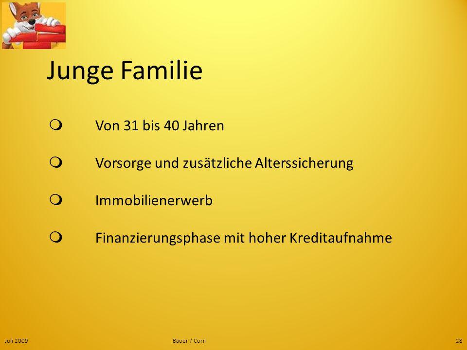 Juli 2009Bauer / Curri28 Junge Familie Von 31 bis 40 Jahren Vorsorge und zusätzliche Alterssicherung Immobilienerwerb Finanzierungsphase mit hoher Kre