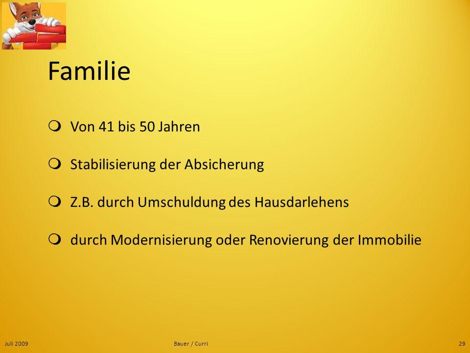 Juli 2009Bauer / Curri29 Familie Von 41 bis 50 Jahren Stabilisierung der Absicherung Z.B. durch Umschuldung des Hausdarlehens durch Modernisierung ode