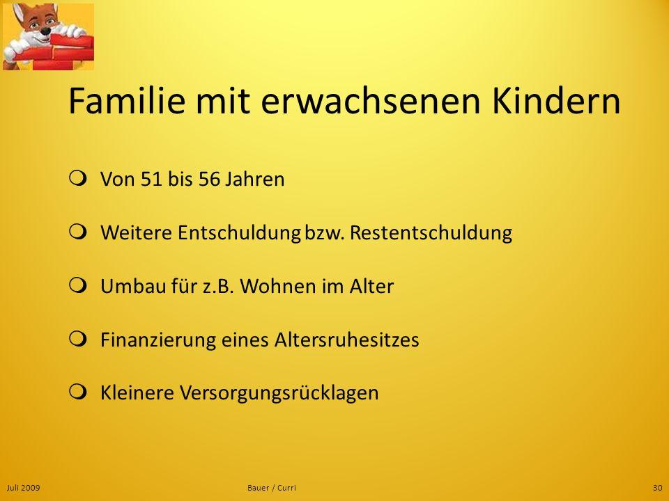 Juli 2009Bauer / Curri30 Familie mit erwachsenen Kindern Von 51 bis 56 Jahren Weitere Entschuldung bzw. Restentschuldung Umbau für z.B. Wohnen im Alte