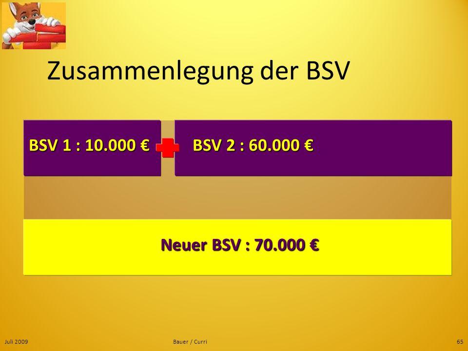 Juli 2009Bauer / Curri65 Zusammenlegung der BSV BSV 1 : 10.000 BSV 1 : 10.000 BSV 2 : 60.000 BSV 2 : 60.000 Neuer BSV : 70.000 Neuer BSV : 70.000
