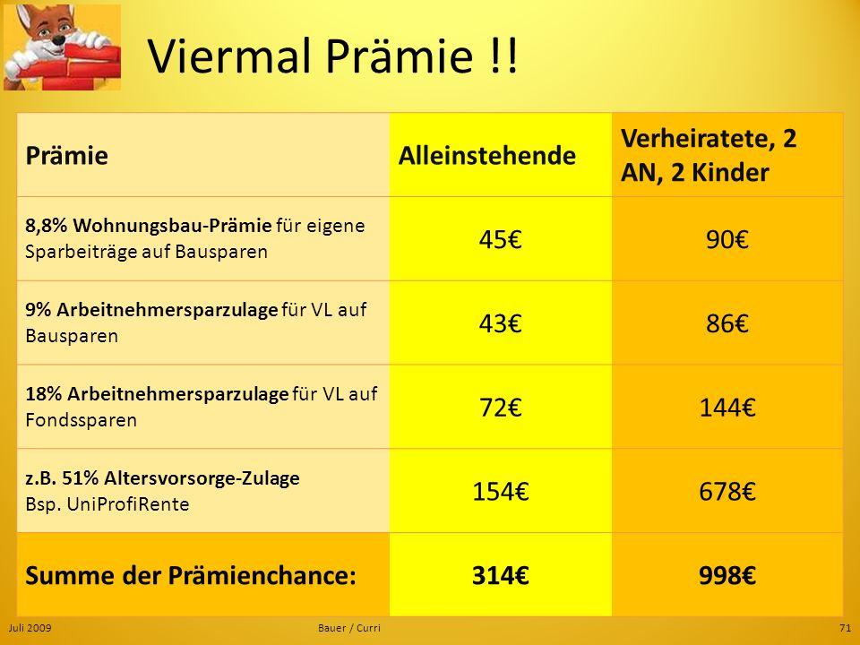 Juli 2009Bauer / Curri71 Viermal Prämie !! PrämieAlleinstehende Verheiratete, 2 AN, 2 Kinder 8,8% Wohnungsbau-Prämie für eigene Sparbeiträge auf Bausp