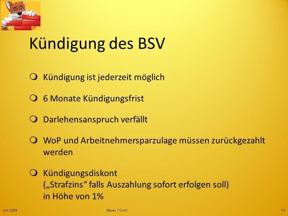 Juli 2009Bauer / Curri73 Kündigung des BSV Kündigung ist jederzeit möglich 6 Monate Kündigungsfrist Darlehensanspruch verfällt WoP und Arbeitnehmerspa