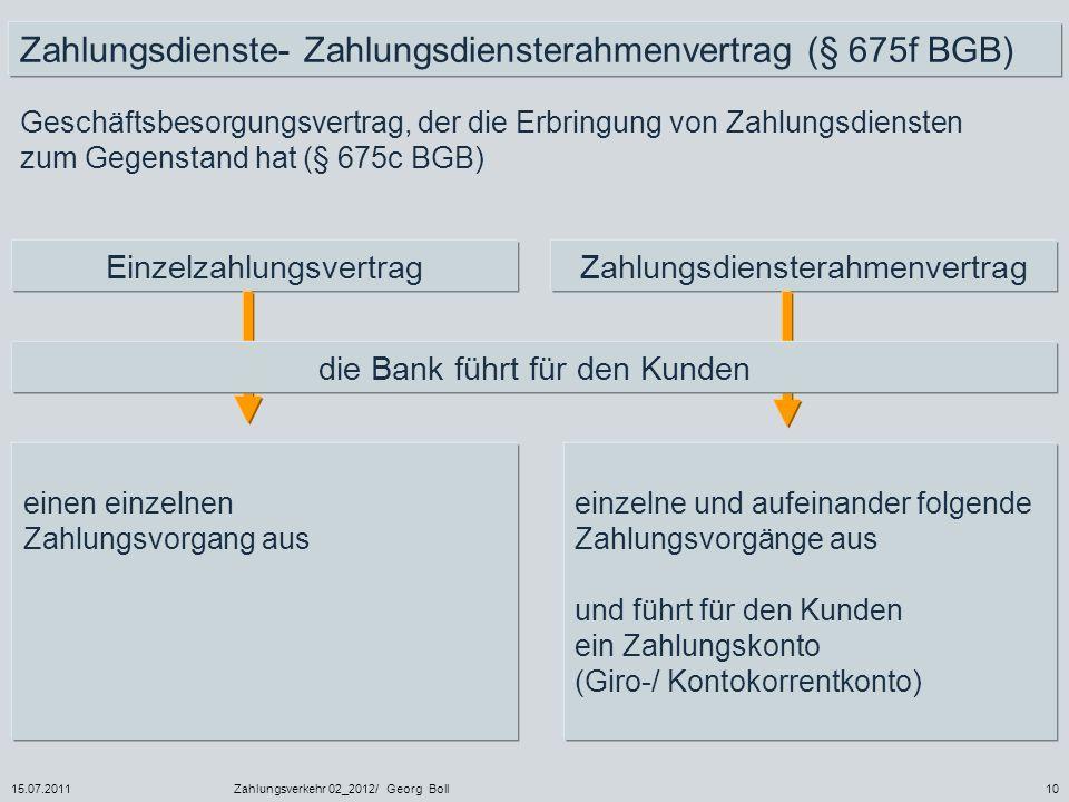 15.07.2011Zahlungsverkehr 02_2012/ Georg Boll10 Geschäftsbesorgungsvertrag, der die Erbringung von Zahlungsdiensten zum Gegenstand hat (§ 675c BGB) ei