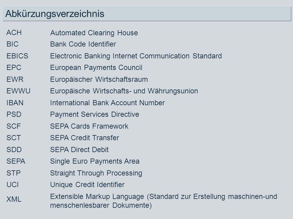 Abkürzungsverzeichnis Extensible Markup Language (Standard zur Erstellung maschinen-und menschenlesbarer Dokumente) Unique Credit Identifier UCI Strai