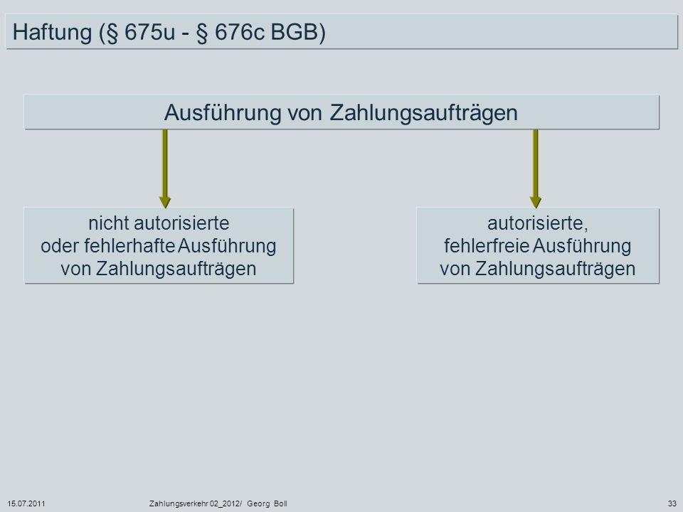 15.07.2011Zahlungsverkehr 02_2012/ Georg Boll33 Haftung (§ 675u - § 676c BGB) nicht autorisierte oder fehlerhafte Ausführung von Zahlungsaufträgen aut