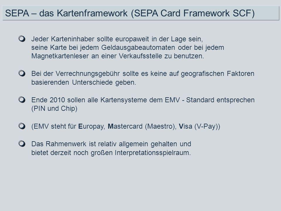 Jeder Karteninhaber sollte europaweit in der Lage sein, seine Karte bei jedem Geldausgabeautomaten oder bei jedem Magnetkartenleser an einer Verkaufss