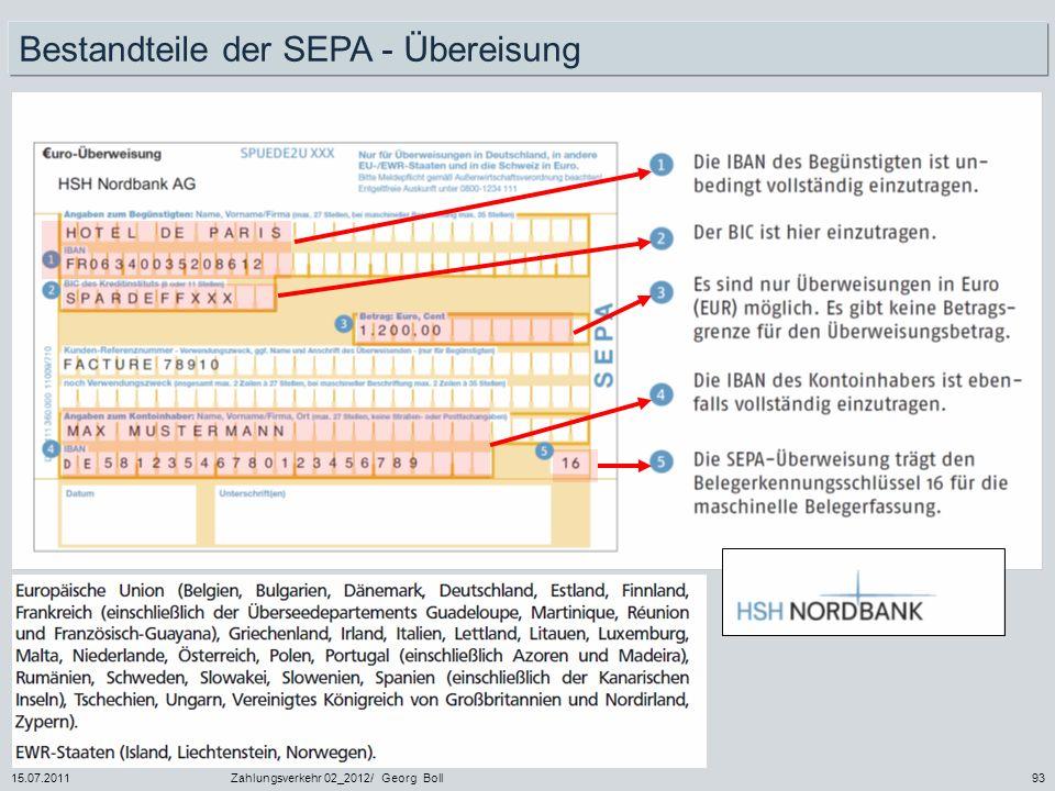 15.07.2011Zahlungsverkehr 02_2012/ Georg Boll93 Bestandteile der SEPA - Übereisung