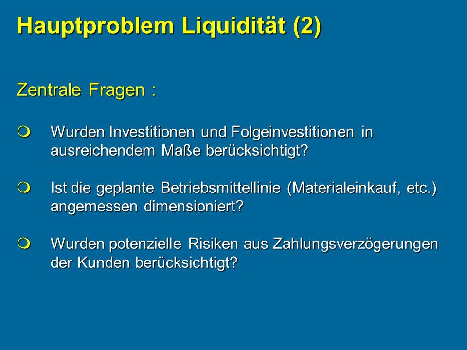 Zentrale Fragen : Wurden Investitionen und Folgeinvestitionen in ausreichendem Maße berücksichtigt? Wurden Investitionen und Folgeinvestitionen in aus