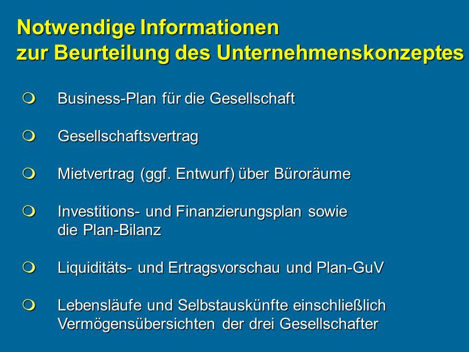 Notwendige Informationen zur Beurteilung des Unternehmenskonzeptes Business-Plan für die Gesellschaft Business-Plan für die Gesellschaft Gesellschafts