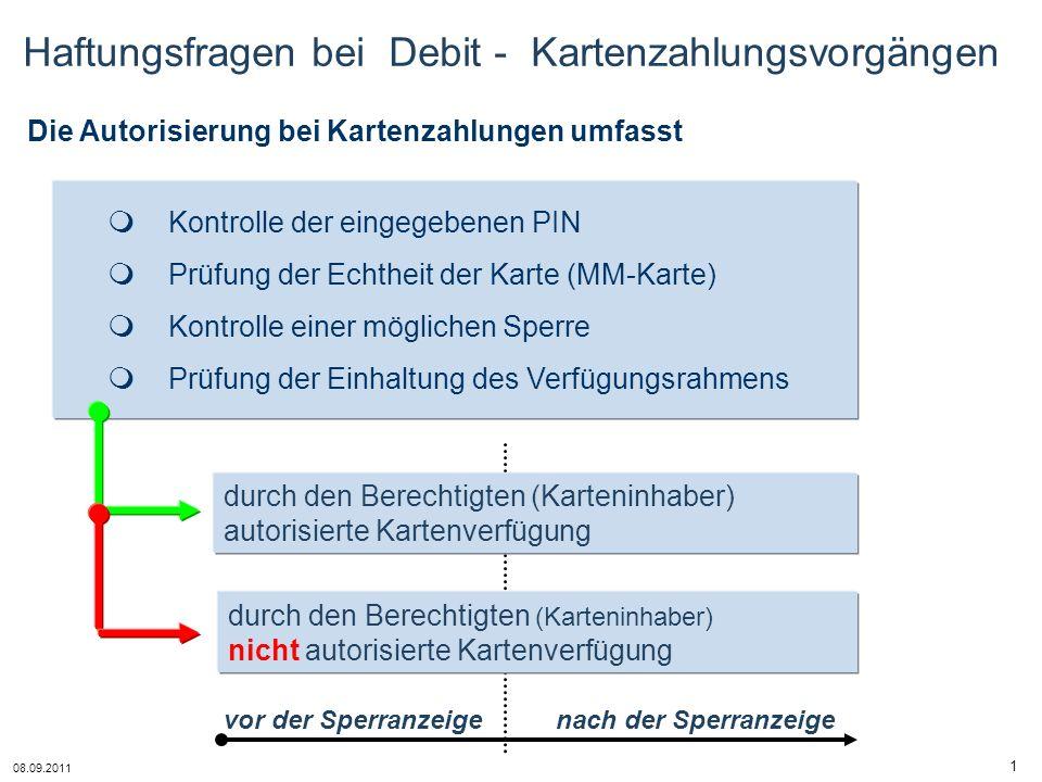 08.09.2011 1 durch den Berechtigten (Karteninhaber) nicht autorisierte Kartenverfügung durch den Berechtigten (Karteninhaber) autorisierte Kartenverfü