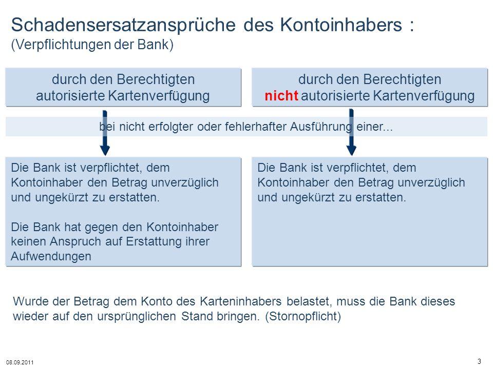 08.09.2011 3 Schadensersatzansprüche des Kontoinhabers : (Verpflichtungen der Bank) durch den Berechtigten nicht autorisierte Kartenverfügung durch de