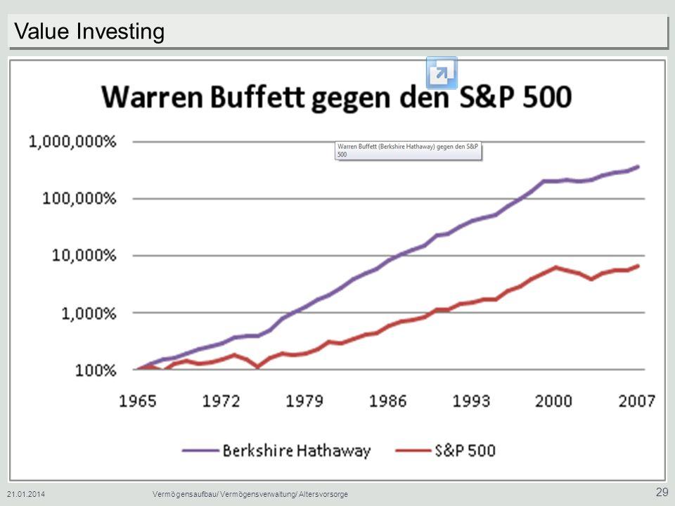 21.01.2014Vermögensaufbau/ Vermögensverwaltung/ Altersvorsorge 29 Value Investing