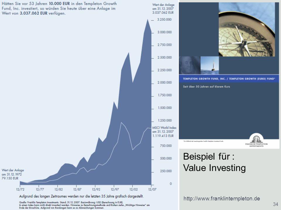 21.01.2014Vermögensaufbau/ Vermögensverwaltung/ Altersvorsorge 34 http://www.franklintempleton.de Beispiel für : Value Investing