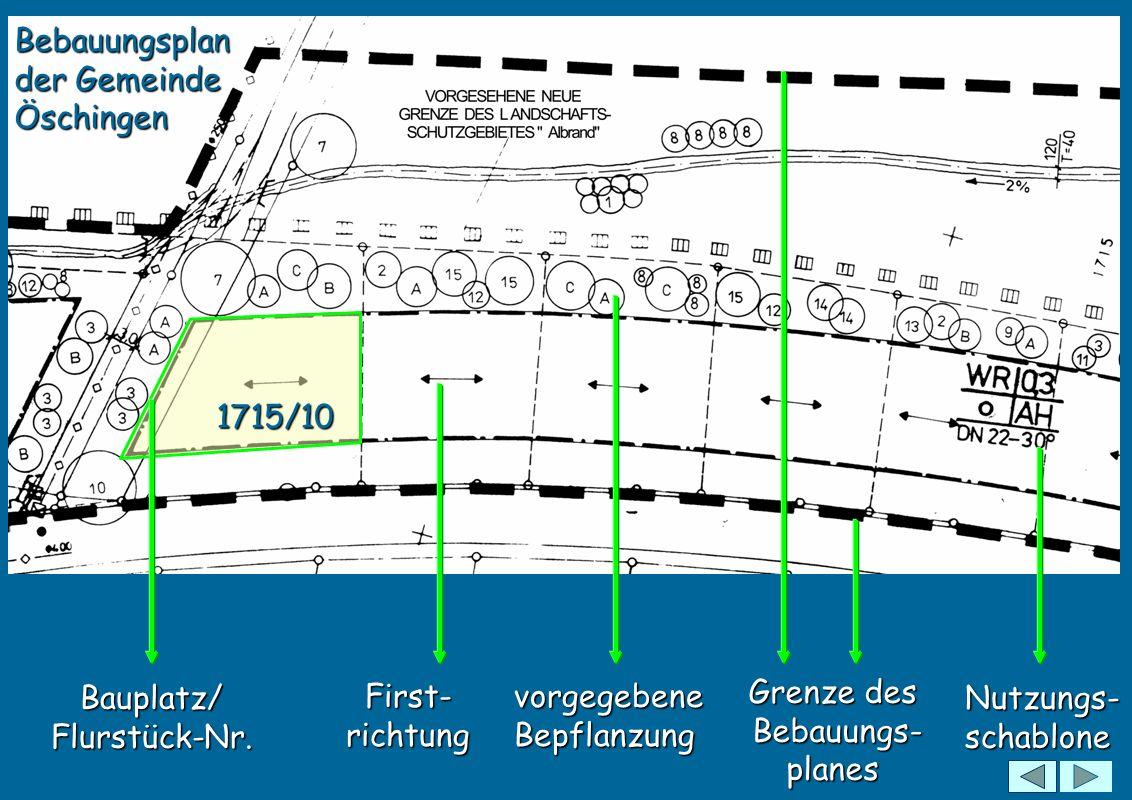 EFH 621,35 Meter : vorgeschriebene Erdgeschoss- Fussboden-Höhe über N.N Erdgeschoss- Fussboden-Höhe Erdgeschoss- Fussboden-Höhe Kontrollschacht der Abwasserleitung Dachvorsprung: 1,00 bis 1,70 Meter Nutzungsschablone