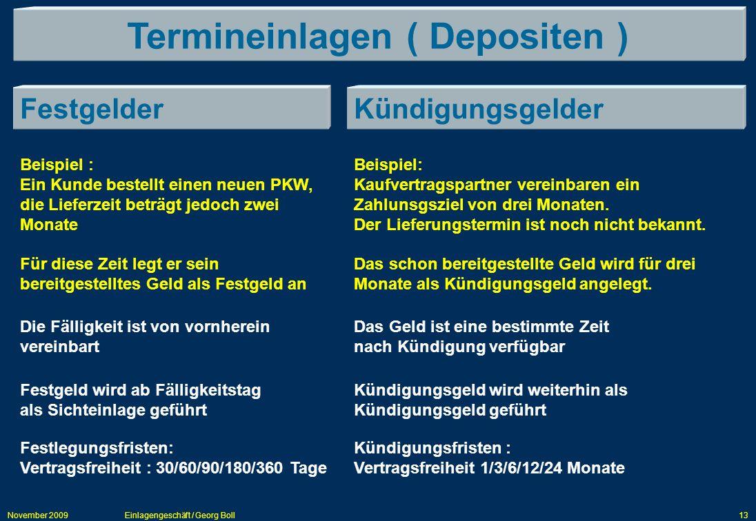 November 2009Einlagengeschäft / Georg Boll13 Termineinlagen ( Depositen ) FestgelderKündigungsgelder Beispiel : Ein Kunde bestellt einen neuen PKW, di