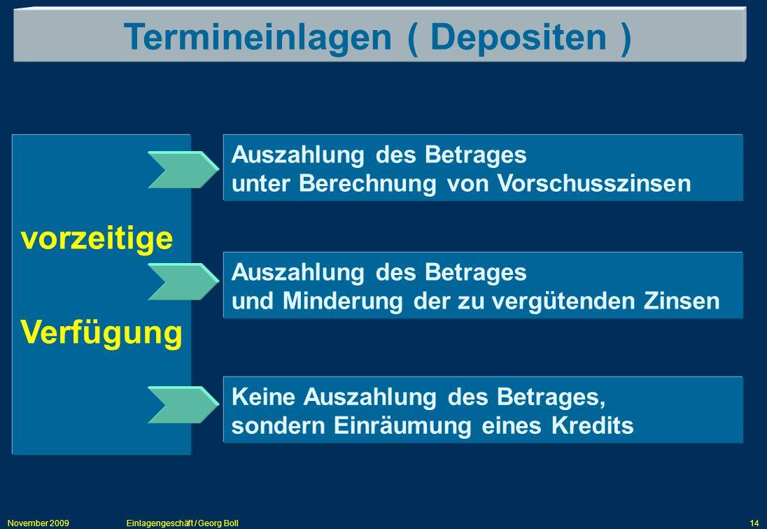 November 2009Einlagengeschäft / Georg Boll14 Termineinlagen ( Depositen ) vorzeitige Verfügung Auszahlung des Betrages unter Berechnung von Vorschussz
