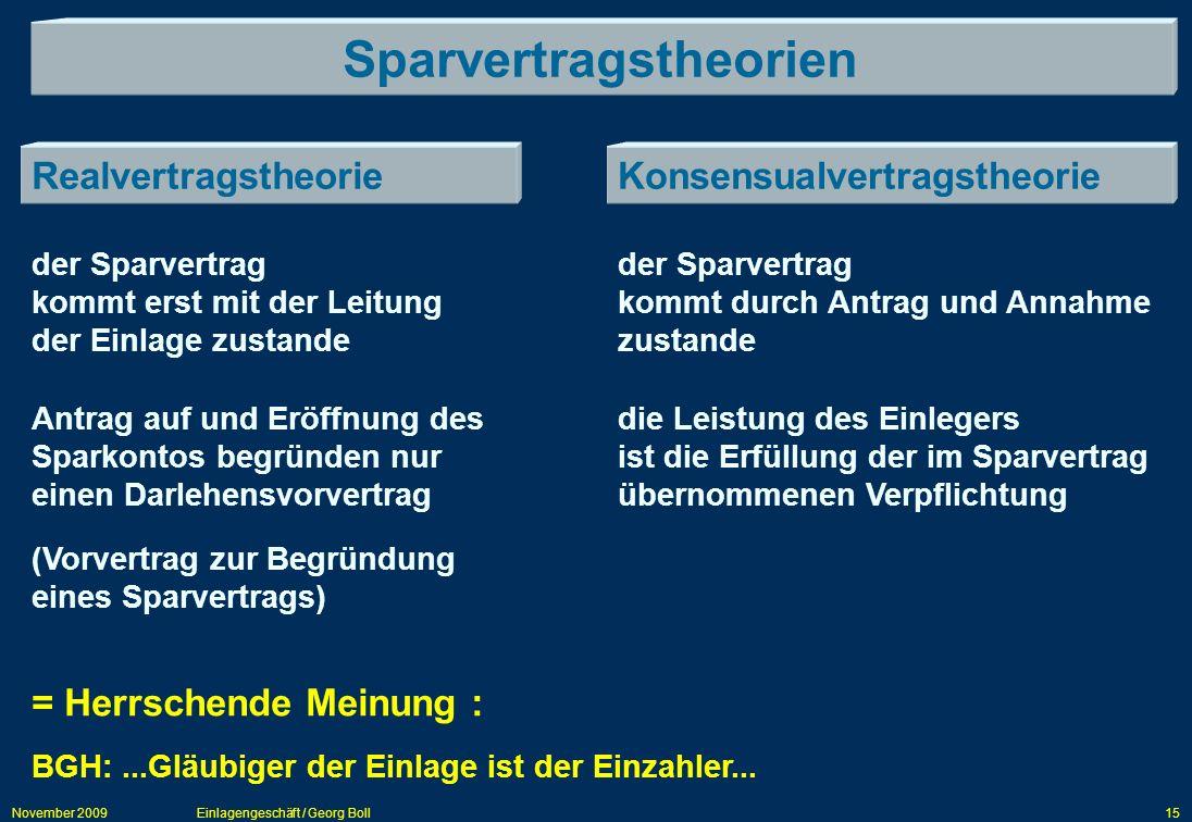 November 2009Einlagengeschäft / Georg Boll15 Sparvertragstheorien RealvertragstheorieKonsensualvertragstheorie der Sparvertrag kommt erst mit der Leit