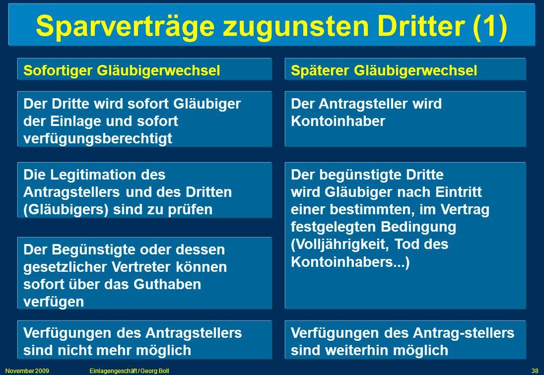 November 2009Einlagengeschäft / Georg Boll38 Sparverträge zugunsten Dritter (1) Sofortiger GläubigerwechselSpäterer Gläubigerwechsel Der Dritte wird s