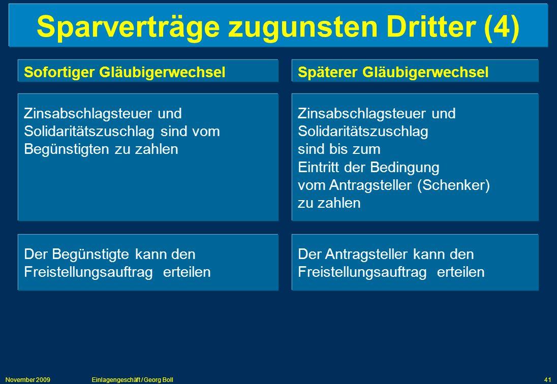 November 2009Einlagengeschäft / Georg Boll41 Sparverträge zugunsten Dritter (4) Sofortiger GläubigerwechselSpäterer Gläubigerwechsel Zinsabschlagsteue