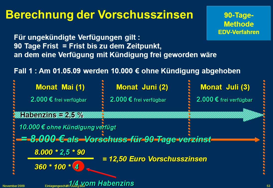 November 2009Einlagengeschäft / Georg Boll53 Berechnung der Vorschusszinsen 90-Tage- Methode EDV-Verfahren Für ungekündigte Verfügungen gilt : 90 Tage