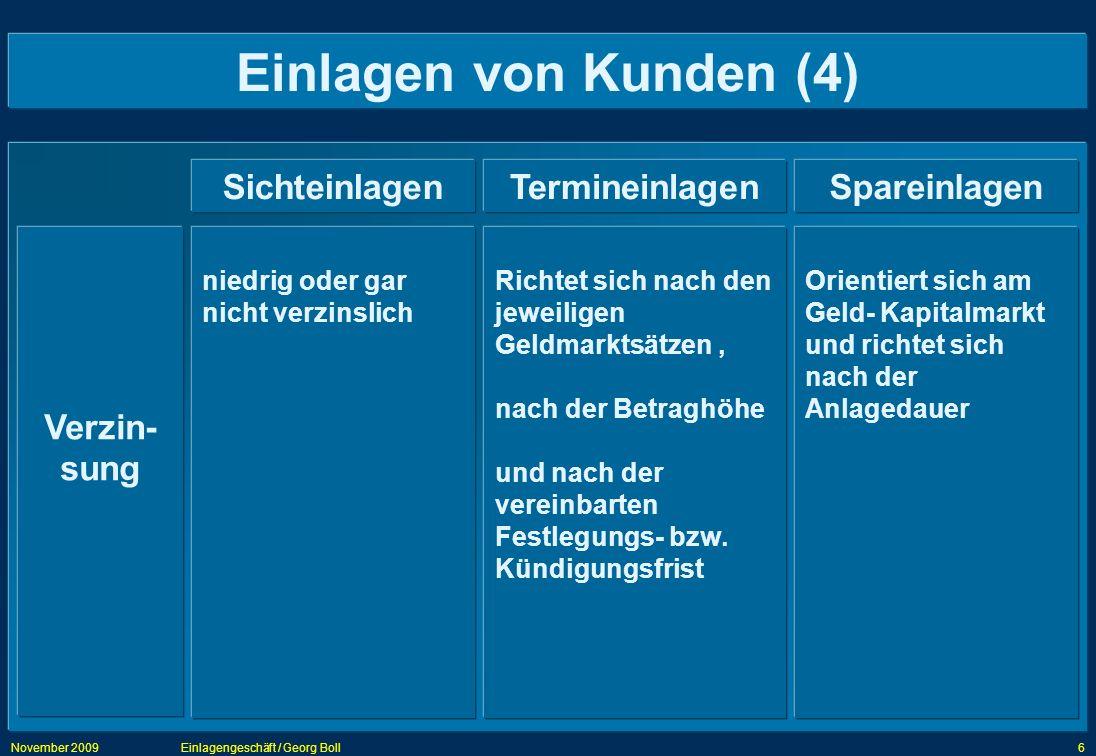 November 2009Einlagengeschäft / Georg Boll6 Einlagen von Kunden (4) SichteinlagenTermineinlagenSpareinlagen Verzin- sung Richtet sich nach den jeweili