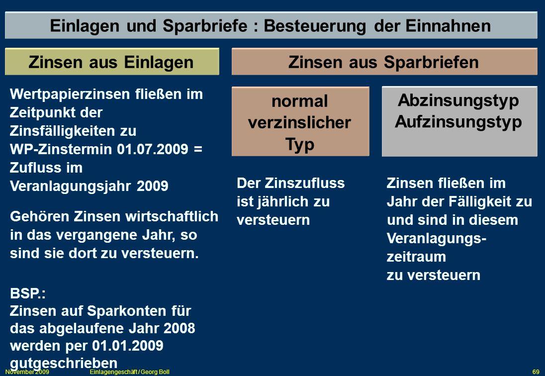 November 2009Einlagengeschäft / Georg Boll69 Einlagen und Sparbriefe : Besteuerung der Einnahnen Zinsen aus EinlagenZinsen aus Sparbriefen Wertpapierz